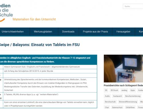"""(Deutsch) Erwähnung auf der Seite """"Medien in die Schule"""""""